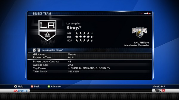 NHL 13 GM Connected Mode Details