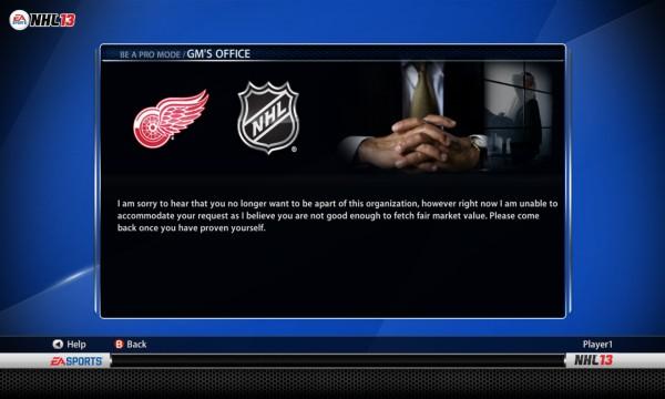 NHL 13 Be-a-Pro Trades