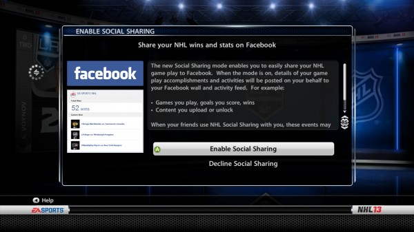 Facebook 'Social Sharing' Feature in NHL 13